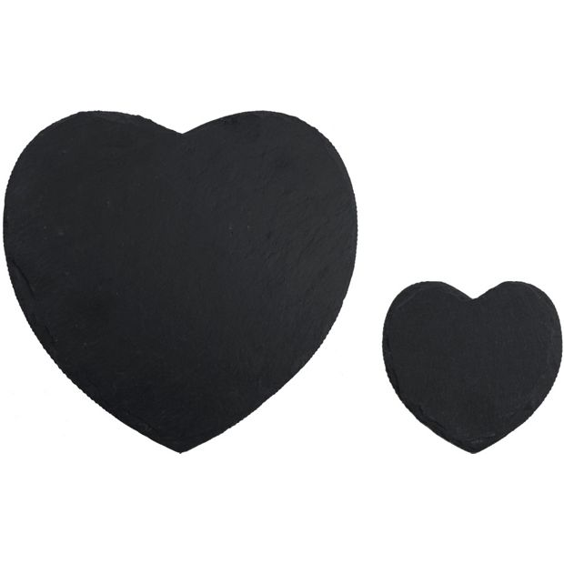 Buy Creative Tops 4 Slate Heart Mats And Coasters Grey