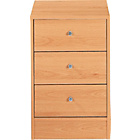 more details on New Malibu 3 Drawer Bedside Chest - Beech