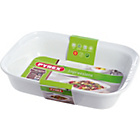 more details on Pyrex Ceramic Rectangular Roaster - 31cm x 20cm White.