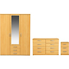 more details on New Hallingford 3 Piece 3 Dr Wardrobe Package- Beech Effect.