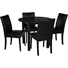 more details on Elmdon Black Circular Dining Table and 4 Black Chairs.