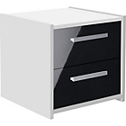more details on New Sywell 2 Drawer Bedside Chest - White and Black Gloss.
