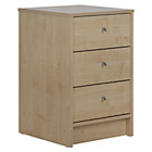 more details on New Malibu 3 Drawer Bedside Chest - Maple.