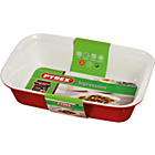more details on Pyrex Ceramic Rectangular Roaster - 22cm x 14cm Red.