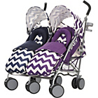 more details on Obaby Leto Plus Twin Stroller and Footmuffs ZigZag Navy/Purp