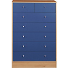 more details on New Malibu 5+2 Drawer Chest - Blue on Pine.