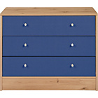 more details on New Malibu 3 Drawer Wide Chest - Blue on Pine.