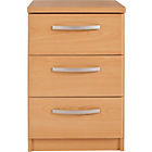 more details on New Hallingford 3 Drawer Bedside Chest - Beech Effect.