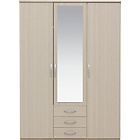 more details on New Hallingford 3 Door Mirrored Wardrobe - Light Oak Effect.