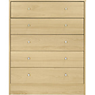 more details on New Malibu 5 Drawer Wide Chest - Maple Effect.