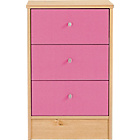more details on New Malibu 3 Drawer Bedside Chest - Pink on Pine.