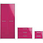 more details on New Sywell 3 Piece 2 Door Wardrobe Package-White/Pink Gloss.