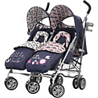 more details on Obaby Leto Twin Stroller and Footmuffs - Little Cutie/Sailor