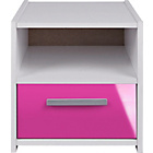 more details on Kids' New Sywell 1 Drawer Bedside Cabinet - White/Pink Gloss