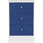 more details on New Malibu 3 Drawer Bedside Chest - Blue on White.