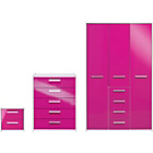 more details on New Sywell 3 Piece 3 Door Wardrobe Package-White/Pink Gloss.