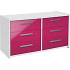 more details on New Sywell 3+3 Drawer Chest - White and Pink Gloss.