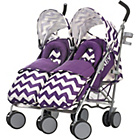 more details on Obaby Leto Plus Twin Stroller and Footmuffs - ZigZag Purple.