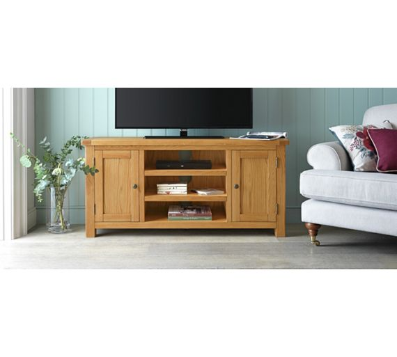 Buy Heart Of House Kent Large Solid Oak Oak Veneer Tv Bench At Your Online Shop