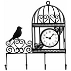 more details on Decorative Wall Mounted Bird Cage Wall Clock and Coat Hanger