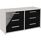 more details on New Sywell 3+3 Drawer Chest - White and Black Gloss.