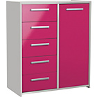 more details on New Sywell 5 Drawer 1 Door Chest - White and Pink Gloss.