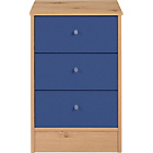 more details on New Malibu 3 Drawer Bedside Chest - Blue on Pine.