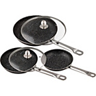 more details on Stonewell Deluxe Set of 3 Frying Pans with Lids.