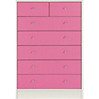 more details on New Malibu 5+2 Drawer Chest - Pink on White.