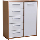 more details on New Sywell 5 Drawer 1 Door Chest - Oak Effect and White.