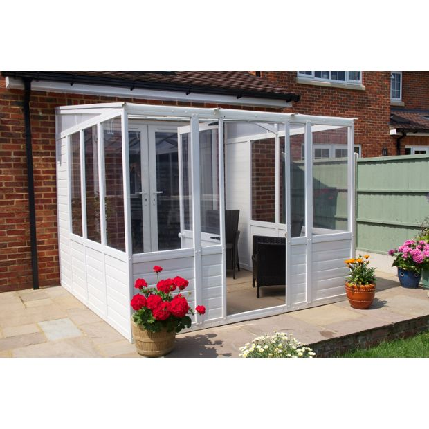 Buy norfolk greenhouses sunroom upvc greenhouse x 8 for Garden room lean to