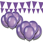 more details on Giant Bunting and Balloon Set - Purple.