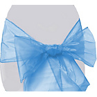 more details on Organza Pack of 6 Chair Bows - Baby Blue.
