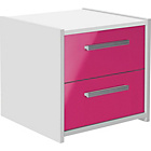more details on New Sywell 2 Drawer Bedside Chest - White and Pink Gloss.