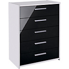 more details on New Sywell 5 Drawer Chest - White and Black Gloss.