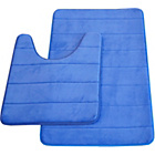 more details on Memory Foam Stripe 2 Piece Bath Set - Blue.