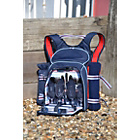 more details on Coastal Picnic Backpack with Bottle Holder and Blanket for 4