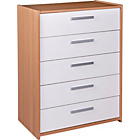 more details on New Sywell 5 Drawer Chest - Oak Effect and White.