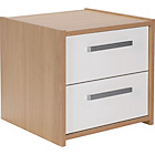 more details on New Sywell 2 Drawer Bedside Chest - Oak Effect and White.
