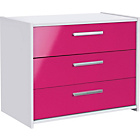 more details on New Sywell 3 Drawer Chest - White and Pink Gloss.
