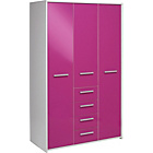 more details on New Sywell 3 Door 4 Drawer Wardrobe - White and Pink Gloss.
