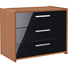 more details on New Sywell 3 Drawer Chest - Walnut Effect and Black Gloss.
