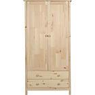 more details on Kids Scandinavia Tall 2 Door 2 Drawer Wardrobe - Pine.