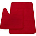 more details on Memory Foam Stripe 2 Piece Bath Set - Red.