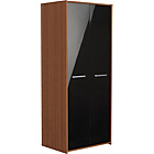 more details on New Sywell 2 Door Wardrobe - Walnut Effect and Black Gloss.