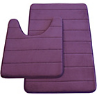 more details on Memory Foam Stripe 2 Piece Bath Set - Plum.