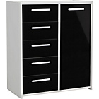 more details on New Sywell 5 Drawer 1 Door Chest - White and Black Gloss.