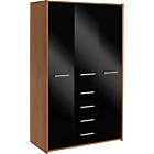 more details on New Sywell 3 Door 4 Drawer Wardrobe-Walnut Effect and Black.