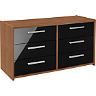more details on New Sywell 3+3 Drawer Chest - Walnut Effect and Black Gloss.