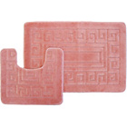 more details on Greek Key 2 Piece Bath Set - Pink.